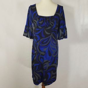 AGB Dress Blue Abstract Printed Casual Dress Sz 8